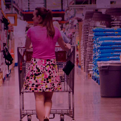 Woman with trolley